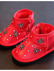 Girl's Boots Comfort Leather Outdoor Casual Athletic Black Red Running