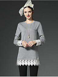 Women's Casual/Daily Sophisticated Summer Fall T-shirt,Jacquard Round Neck ¾ Sleeve Gray Cotton Opaque