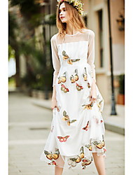 Women's Going out Holiday Simple Swing Dress,Animal Print Round Neck Midi ¾ Sleeve Polyester White Spring High Rise Inelastic