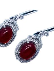 Stud Earrings Jewelry Women Daily Casual Sterling Silver 1 pair Ruby