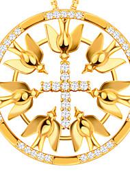 Men's Women's Pendants Zircon Cubic Zirconia Alloy Cross Unique Design Gold Jewelry Daily Casual 1pc