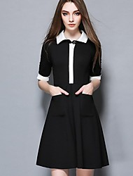 Women's Formal Work Cute Sophisticated A Line Dress,Solid Shirt Collar Above Knee ½ Length Sleeve Nylon Black Spring High Rise Inelastic