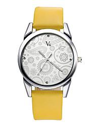 V6 Women's Dress Watch Fashion Watch Casual Watch Wrist watch Water Resistant / Water Proof / Quartz PU Band Flower Casual Black Brown Strap Watch