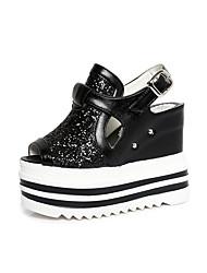 Women's Sandals Summer Light Soles PU Office & Career Party & Evening Dress Wedge Heel Rhinestone Applique White Silver Walking