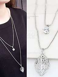 Pendant Necklaces Sweater Chain Jewelry Party Hollow leaf Double-layer Alloy Rhinestone Women 1pc Gift Silver