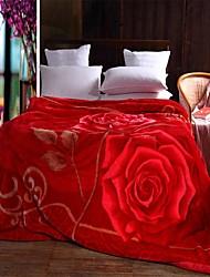 Toison de Corral Rouge,Imprimé Floral / Botanique 100 % Polyester couvertures W180 x L200cm  W200 x L230cm