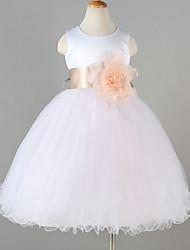Princess Tea-length Flower Girl Dress - Tulle Polyester Sleeveless Jewel with Flower(s)