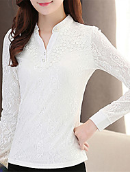 Fashion Spring Long Sleeves V Collar Upper Outer Garment Daily Leisure Wild Home OL Play Chiffon Blouse