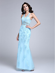 TS Couture Prom Formal Evening Dress - Beautiful Back Sheath / Column V-neck Floor-length Lace Tulle with Appliques Beading