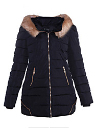 Brand Hight Qualiyt    Women's Regular Padded CoatSimple Casual/Daily Solid-Polyester Polyester Long Sleeve Hooded Pink / Red / White / Black