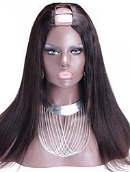 Vente en gros 150% de lumière de densité yaki brazilian upart perruque remy yaki vierge partie u de cheveux perruque couleur naturelle
