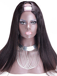 atacado 150% de luz densidade yaki upart brasileira peruca remy virgem do cabelo u parte peruca yaki cor natural reta 1,5 * 4 parte do