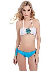 Women's Straped Bikini,Color Block Bandage Nylon Blue Peach