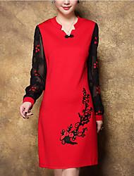 Gaine Robe Femme Sortie Grandes Tailles Chic de Rue,Broderie Col en V Au dessus du genou Manches Longues Rouge Noir Polyester Printemps