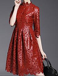 Feminino Evasê Vestido, Formal Sofisticado Bordado Colarinho Chinês Altura dos Joelhos Meia Manga Vermelho Preto Poliuretano Outono