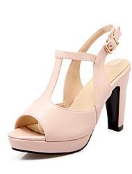 Damen-Sandalen-Lässig-Kunstleder-Blockabsatz-Andere Club-Schuhe-Blau Rosa Beige