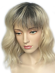 Women Party Wig Blonde Short Wavy Cosplay Costume With Air Bang Heat Resistant Hairstyle