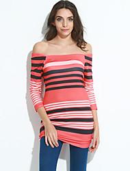 Moulante Robe Femme Sportif Sexy / simple,Rayé Bateau Mini Manches ¾ Orange Polyester Toutes les Saisons Taille Normale Elastique Moyen