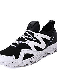 Men's Sneakers Spring Summer Fall Winter Comfort Microfibre Outdoor Casual Athletic Flat Heel Lace-up Black Black and Red Black and White