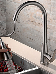 Contemporary Pull-out/­Pull-down Deck Mounted Pullout Spray Rotatable with  Ceramic Valve Single Handle One Hole for  Nickel Brushed ,