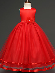 Ball Gown Tea-length Flower Girl Dress - Satin Tulle Jewel with Bow(s) Flower(s) Sash / Ribbon