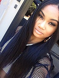 100% Human Virgin Hair Lace Wig Lace Front Natural Straight Lace  Wig-glueless with Baby Hair