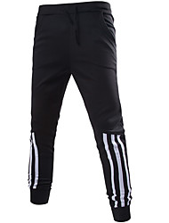 Hommes Ample Sarouel Chino Pantalon,simple Street Chic Décontracté / Quotidien Plage Vacances Couleur Pleine Rayé Taille Normale Cordon