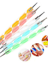 5pcs Manicure Point Pen Strokes Manicure Type Double Diamond Drill Point Flower Pin Screw Phototherapy Diamond Pen