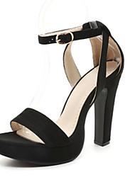 Women's Sandals Summer Gladiator Velvet Dress Casual Chunky Heel Buckle Black Pink Orange Other