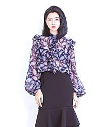 Feminino Blusa Para Noite Casual Sensual Primavera,Floral Azul Vermelho Poliéster Colarinho Chinês Manga Longa Leve Transparência
