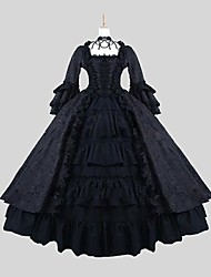 One-Piece/Dress Punk Lolita Victorian Cosplay Lolita Dress Jacquard Long Sleeve Ankle-length Dress Petticoat For Satin