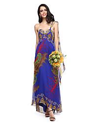 2017 Lanting Bride® Watteau Train Chiffon Floral Bridesmaid Dress - Sweetheart with Crystal Brooch