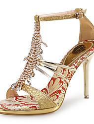 Women's Sandals Club Shoes PU Glitter Wedding Party & Evening Dress Stiletto Heel Rhinestone Silver Rose Gold