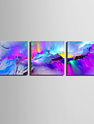 E-HOME Stretched Canvas Art Purple Fantasy Mountains Decoration Painting Set Of 3