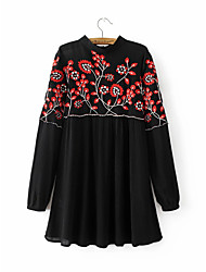 Women's Going out Party/Cocktail Vintage Chinoiserie A Line Loose Skater Dress,Solid Embroidered Cut Out Ruffle Pleated Stand Above Knee