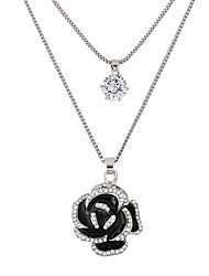 Pendant Necklaces Jewelry Daily Casual Rose Flower Double-layer Alloy Rhinestone Women 1pc Gift Silver