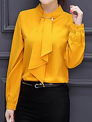 Feminino Blusa Formal Trabalho Casamento Simples Fofo Moda de Rua Primavera Outono,Sólido Vermelho Branco Amarelo Outros Colarinho Chinês