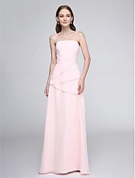 LAN TING BRIDE Longueur Sol Sans Bretelles Robe de Demoiselle d'Honneur - Elégant Sans Manches Mousseline de soie