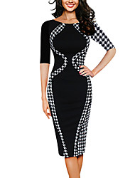 Women's Plus Size Casual/Daily Simple Street chic Slim Elastic Force Bodycon DressColor Block Houndstooth Round Neck Knee-length  Length Sleeve