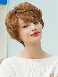 Пикси короткий слоистый наклонена взрыва прямой парик человеческих волос