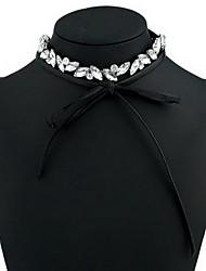 Women's Choker Necklaces Crystal Imitation Diamond Single Strand Circle Bowknot Gemstone Leather Basic Fashion European Jewelry ForDaily
