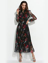 Women's Going out Street chic  DressFloral Halter Maxi Long Sleeve Black Silk Spring / Summer High Rise
