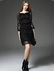Damen Chiffon Kleid-Ausgehen Lässig/Alltäglich Street Schick Solide Rundhalsausschnitt Übers Knie ¾-Arm Schwarz Seide FrühlingHohe