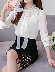 Feminino Blusa Casual Trabalho Simples Primavera Verão,Sólido Rosa Branco Poliéster Colarinho Chinês Manga Longa Fina