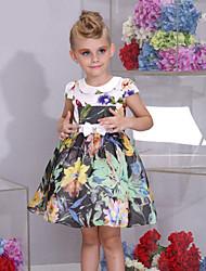 Girl's Kids Peter Pan Collar Floral Print Bowknot Princess Short Sleeve Pageant Puff Dress