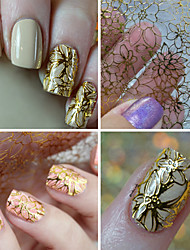 Gold Stamp 3D Hollow Out Flower Nail Art Stickers