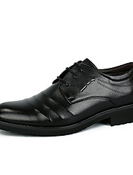 Herren-Sneaker-Lässig-Leder-Flacher Absatz-Komfort-Schwarz