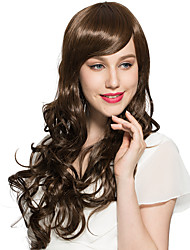Deep Wave Wig Long Ombre Brown Synthetic Fiber Heat Resistant Hairstyle With Wig Cap