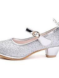 Girl's Heels Comfort PU Dress Casual Pink Silver Gold