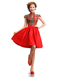 Classic/Traditional Lolita Vintage Inspired Elegant Cosplay Lolita Dress Print Short Sleeve Medium Length Dress For Terylene